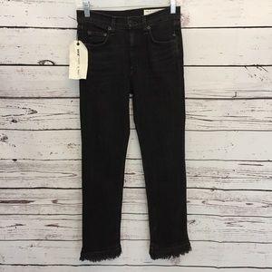 Rag & bone Womens Sz 25 black ankle skinny jeans